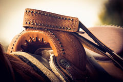 Saddle up on brown horse Royalty Free Stock Photos