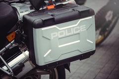 Saddlebags police motorcycle Europe Stock Photos
