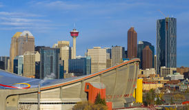 Saddledome in the The City of Calgary at Sunrise. Saddle Dome with Calgary Sskyline, Alberta, Canada Stock Images