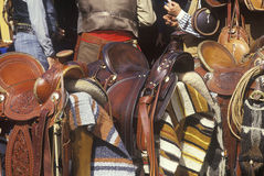 Saddles and blankets during cowboy reenactment, CA Royalty Free Stock Photography