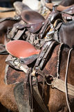 Saddles on horses. Saddles closeup mounted on horses in Colombia Stock Images