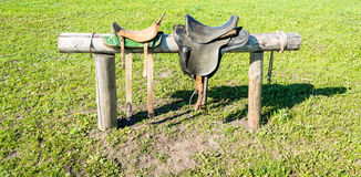 Saddles for horses. Saddles for horses hanging on a log on the background of green grass Royalty Free Stock Photography