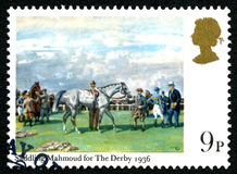 Saddling Mahmoud for The Derby UK Postage Stamp Stock Image