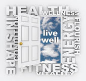 A saúde exprime a vida da forma do bem-estar da aptidão da porta saudável Foto de Stock Royalty Free