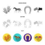Sadel medalj, mästare, vinnare Fastställda samlingssymboler för kapplöpningsbana och för häst i lägenheten, översikt, monokrom st stock illustrationer