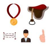 Sadel medalj, mästare, vinnare Fastställda samlingssymboler för kapplöpningsbana och för häst i materiel för symbol för tecknad f vektor illustrationer
