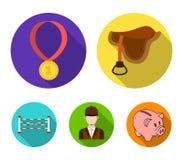 Sadel medalj, mästare, vinnare Fastställda samlingssymboler för kapplöpningsbana och för häst i plant materiel för stilvektorsymb vektor illustrationer