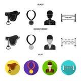 Sadel medalj, mästare, vinnare Fastställda samlingssymboler för kapplöpningsbana och för häst i svart, lägenhet, monokrom stilvek royaltyfri illustrationer