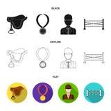 Sadel medalj, mästare, vinnare Fastställda samlingssymboler för kapplöpningsbana och för häst i svart, lägenhet, symbol för övers stock illustrationer