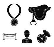 Sadel medalj, mästare, vinnare Fastställda samlingssymboler för kapplöpningsbana och för häst i svart materiel för stilvektorsymb stock illustrationer