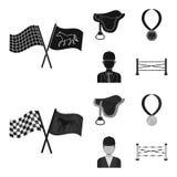 Sadel medalj, mästare, vinnare Fastställda samlingssymboler för kapplöpningsbana och för häst i svart, materiel för symbol för mo royaltyfri illustrationer