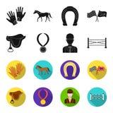Sadel medalj, mästare, vinnare Fastställda samlingssymboler för kapplöpningsbana och för häst i svart, materiel för symbol för fl royaltyfri illustrationer