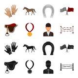 Sadel medalj, mästare, vinnare Fastställda samlingssymboler för kapplöpningsbana och för häst i svart, materiel för symbol för te vektor illustrationer