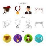 Sadel medalj, mästare, vinnare Fastställda samlingssymboler för kapplöpningsbana och för häst i tecknade filmen, översikt, symbol royaltyfri illustrationer