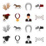 Sadel medalj, mästare, vinnare Fastställda samlingssymboler för kapplöpningsbana och för häst i tecknade filmen, monokromt stilve stock illustrationer
