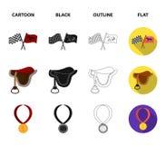 Sadel medalj, mästare, vinnare Fastställda samlingssymboler för kapplöpningsbana och för häst i tecknade filmen, svart, översikt, stock illustrationer