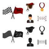 Sadel medalj, mästare, vinnare Fastställda samlingssymboler för kapplöpningsbana och för häst i tecknade filmen, svart materiel f stock illustrationer