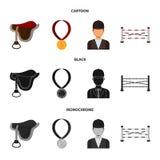 Sadel medalj, mästare, vinnare Fastställda samlingssymboler för kapplöpningsbana och för häst i tecknade filmen, svart, monokrom  stock illustrationer