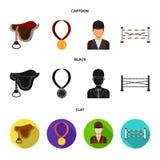 Sadel medalj, mästare, vinnare Fastställda samlingssymboler för kapplöpningsbana och för häst i tecknade filmen, svart, symbol fö vektor illustrationer