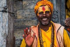 Sadhu在加德满都市,尼泊尔 库存照片