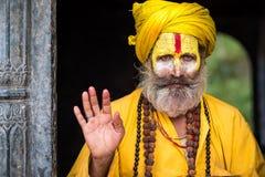 Sadhu在加德满都市,尼泊尔 库存图片
