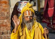 Sadhu, ένα θρησκευτικό ασκητικό ή ιερό πρόσωπο στο Κατμαντού Στοκ Φωτογραφίες