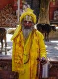 Sadhu στα ζωηρόχρωμα ενδύματα και το χρωματισμένο πρόσωπο στοκ φωτογραφία με δικαίωμα ελεύθερης χρήσης