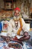 Sadhu Baba bij Pashupatinath-Tempel Royalty-vrije Stock Afbeeldingen