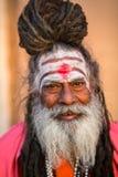Sadhu of Baba heilige mens op ghats van de rivier van Ganges Royalty-vrije Stock Foto