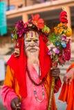 Sadhu of Baba heilige mens op ghats van de rivier van Ganges Stock Foto
