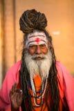 Sadhu of Baba heilige mens op ghats van de rivier van Ganges Royalty-vrije Stock Afbeelding