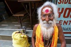 Sadhu of Baba heilige mens op ghats van de rivier van Ganges Royalty-vrije Stock Fotografie