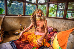 Sadhu baba  (holy man) meditating in a temple in Nepal Stock Photo
