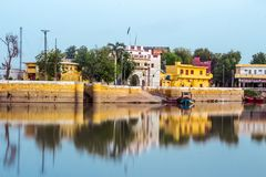 Sadh Bela. A beautiful view of an small island. It is a religious place of Hindu which is called Sadhu Bela, Sukkur Sindh Pakistan stock image