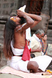 Sadhu blows conch Stock Images