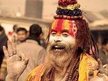 Sadhu colorido en el festival de Shivaratri