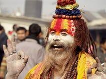 Sadhu colorido en el festival de Shivaratri Foto de archivo
