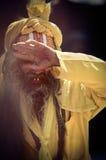 Sadhu com a cara pintada tradicional no quadrado de Durbar em Kathmand Imagens de Stock