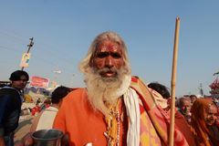 A Sadhu come to take holy bath at KumbhMela Royalty Free Stock Photo