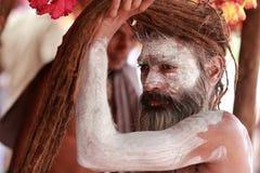 Sadhu del Naga en Kumbha Mela Imágenes de archivo libres de regalías