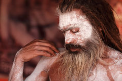 Sadhu del Naga en Kumbha Mela Imagen de archivo libre de regalías