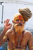 Sadhu die van Shaiva aalmoes voor een tempel zoekt Royalty-vrije Stock Foto's