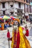 Sadhu at durbar square Stock Photography