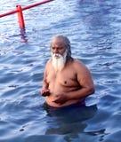 Sadhu het baden in rivierkshipra, simhasth mela 2016, Ujjain India van Maha kumbh Royalty-vrije Stock Foto