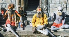 Sadhu Hindu Painted Body People Katmandu Nepal arkivbilder