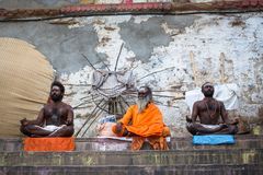 Sadhu holy man on Dashashwamedh Ghat is the main and probably oldest ghat of Varanasi Royalty Free Stock Photography