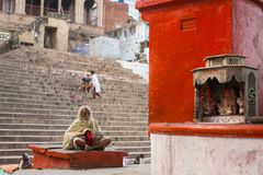 Sadhu holy man on Dashashwamedh Ghat is the main and probably oldest ghat of Varanasi Royalty Free Stock Image