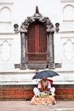Sadhu holy man in front of Rajrajeshwari Temple in Kathmandu, Ne Royalty Free Stock Photo