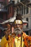 Sadhu i Katmandu, Nepal Arkivfoton