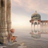 Sadhu im Nebel Lizenzfreie Stockfotos